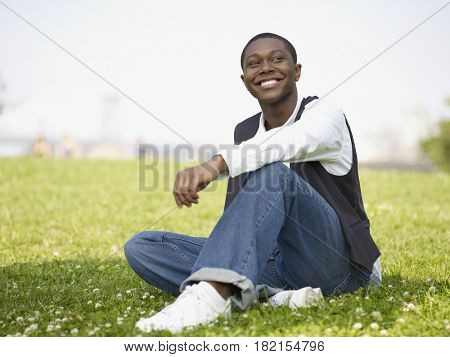 African man enjoying day in the park