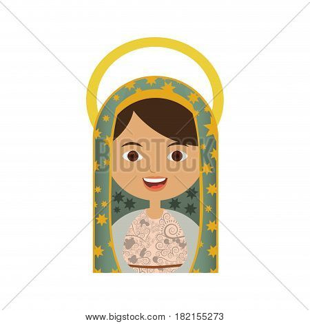white background of half body virgin of guadalupe with aura vector illustration
