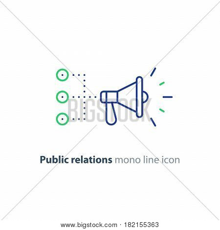 Promotion plan, social media marketing concept, megaphone mono line icon, public relations vector illustration