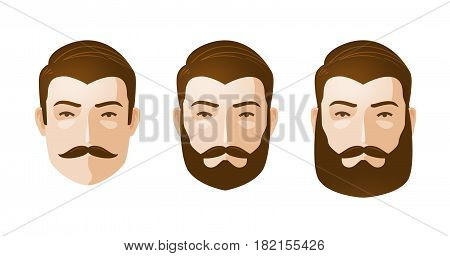 Portrait of beautiful men. Man with beard and mustache. Cartoon vector illustration isolated on white background