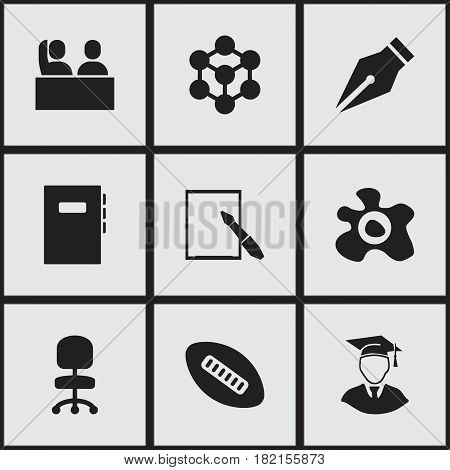 Set Of 9 Editable Education Icons. Includes Symbols Such As Nib, Workbook, Notepaper And More. Can Be Used For Web, Mobile, UI And Infographic Design.