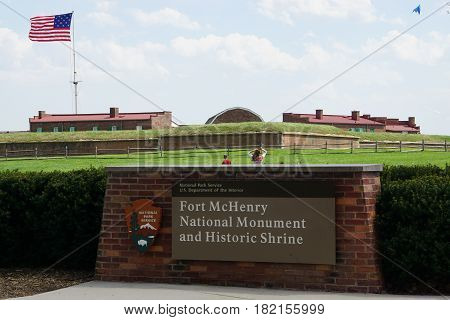 BALTIMORE, MD - APR 16: Fort McHenry National Monument and Historic Shrine in Baltimore, Maryland, on April 16, 2017. In the War of 1812, it defended Baltimore Harbor from an attack by the British.