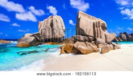 unique granite rocky beach Anse Marron in La Digue island, Seycheles islands