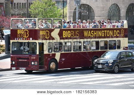 WASHINGTON, DC - APR 15: Big Bus tour bus in Washington, DC, as seen on April 15, 2017. The United States is the country with the largest number of cities with Big Bus Tours service.