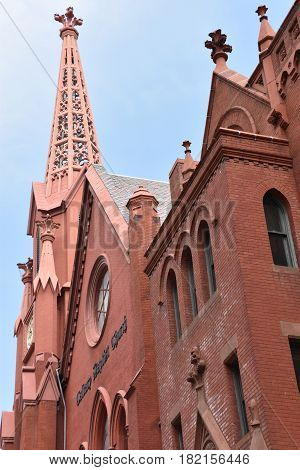 WASHINGTON, DC - APR 14: Calvary Baptist Church in Washington, DC, as seen on April 14, 2017. It is a diverse and historic Baptist church in the Chinatown neighborhood of the city.