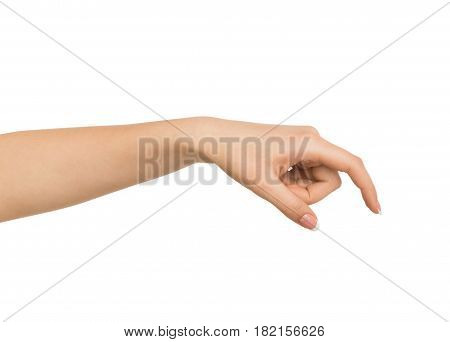 Close-up of female hand making gesture while picking up some items on white isolated background, cutout, copy space
