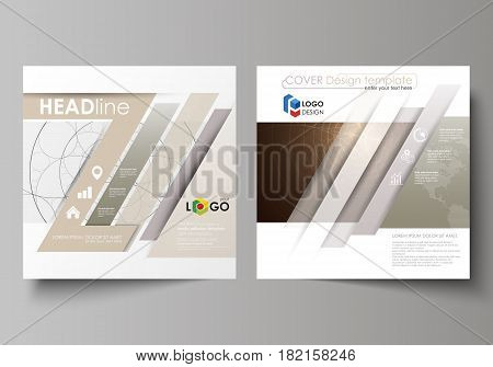 Business templates for square design brochure, magazine, flyer, booklet or annual report. Leaflet cover, abstract flat layout, easy editable vector. Alchemical theme. Fractal art background. Sacred geometry. Mysterious relaxation pattern.