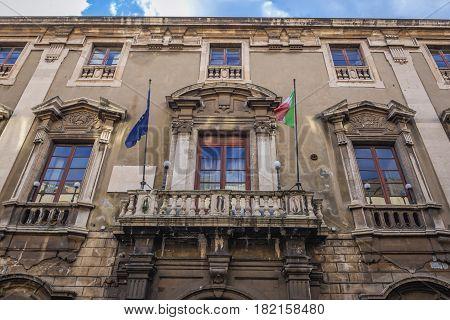 City Hall budiling (so called Elephants Palace) in Catania Sicily Island of Italy
