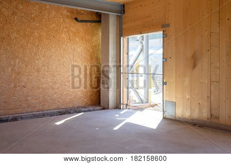 Empty construction site made of wooden wall