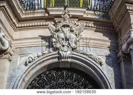Close up on University of Catania building (Palace of San Giuliano) in Catania Sicily Island of Italy