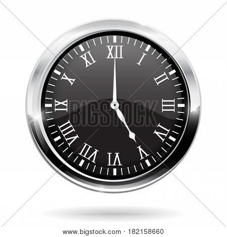 Clock. Black round clock with roman numerals. Vector illustration isolated on white background