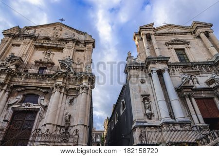 Churches of Saint Benedict and Saint Francis Borgia in Catania Sicily Island of Italy