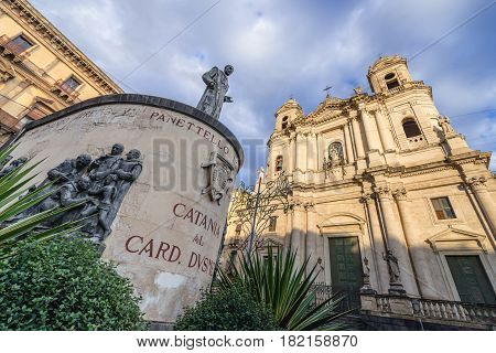 Statue of Cardinal Giuseppe Dusmet in front of Saint Francis Church in Catania Sicily Island of Italy