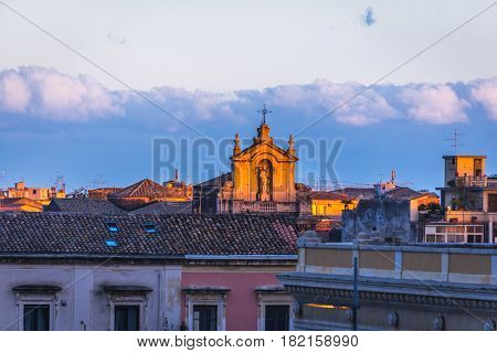 Sunset in Catania Sicily Island of Italy