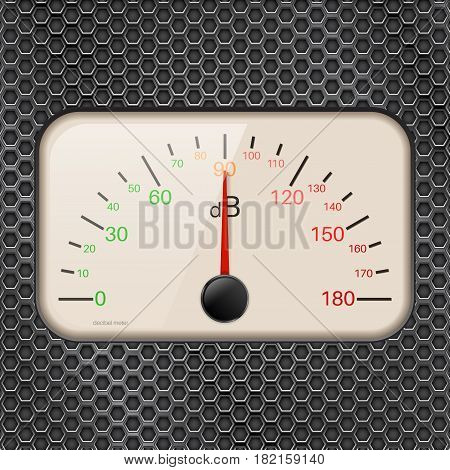 Decibel meter on metal perforated background. Vector illustration