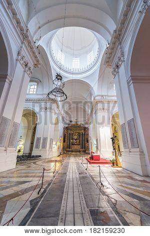 Interior of Benedictine Monastery of San Nicolo l'Arena Church in Catania Sicily Island of Italy