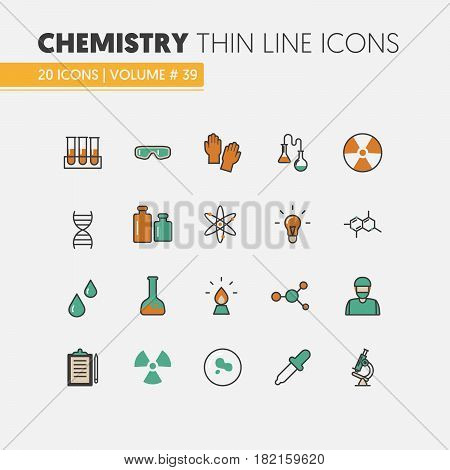 Chemistry Linear Thin Line Vector Icons Set with DNA and Chemical Elements