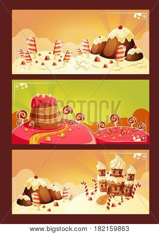 Set vector cartoon illustration, banners with a sweet landscape - cake houses, muffin hills, caramel rivers, lollipops and popsicle
