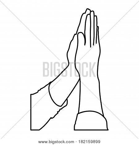 monochrome contour of hands together for praying vector illustration