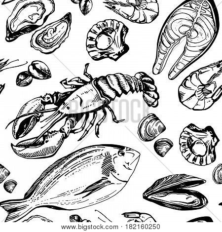 Hand drawn pattern of seafood. Lobster, mollusk, mussel, shrimp, oyster and salmon steak. Seamless vector sketch background.