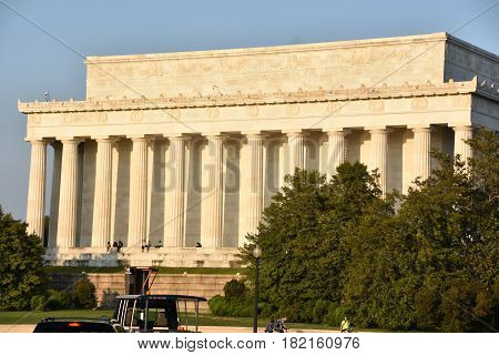 WASHINGTON, DC - APR 15: Lincoln Memorial in Washington, DC, as seen on April 15, 2017. It is an American national monument built to honor the 16th President of the United States, Abraham Lincoln.