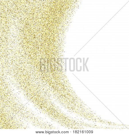 Vector gold glitter wave abstract background, golden sparkles on white background