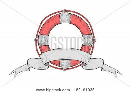 Lifebuoy with ribbon swirl banner. Hand drawn sketch. Vector illustration isolated on white background