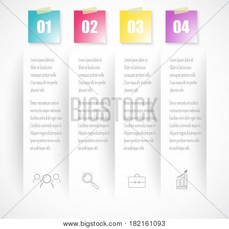 Business index infographics template with 4 data. Can be used for workflow layout, diagram, number options, web design, presentations, tab.Vector eps10