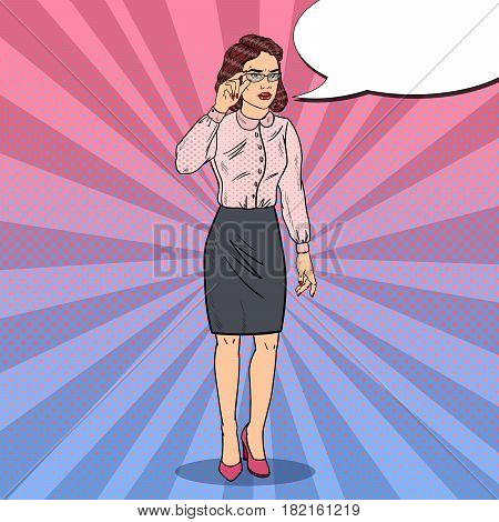 Pop Art Worried Business Woman. Vector illustration