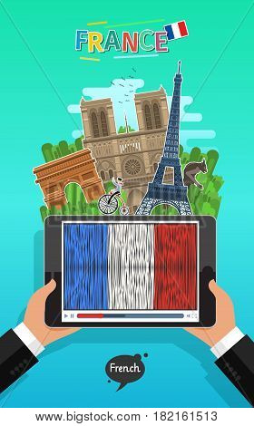 Concept of travel to France or studying French. Male hands holding a tablet with landmarks and hand drawn French flag on the tablet screen. Flat design, vector illustration