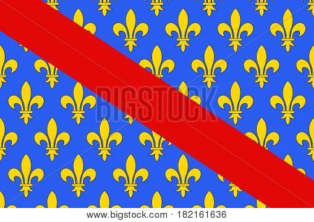 Flag of Allier is a French department located in the Auvergne-Rhone-Alpes region of central France. Vector illustration