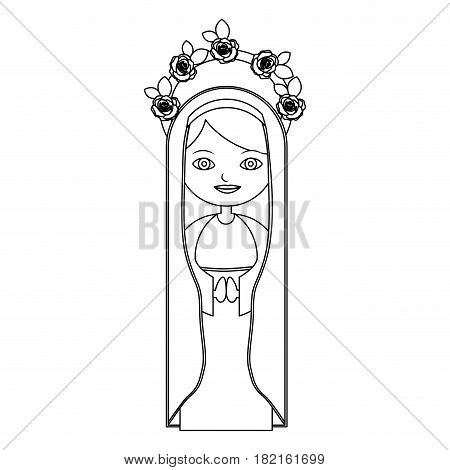 monochrome contour of beautiful virgin with crown of roses and mantle vector illustration