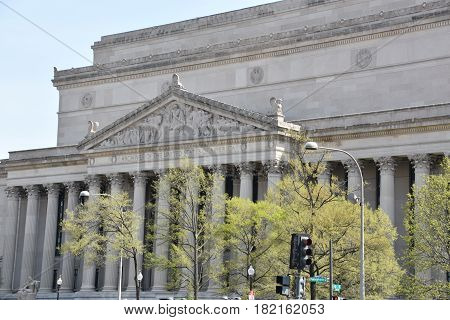 WASHINGTON, DC - APR 15: National Archives in Washington, DC, as seen on April 15, 2017. It holds the original copies of the three main formative documents of the United States and its government: the Declaration of Independence, the Constitution, and the