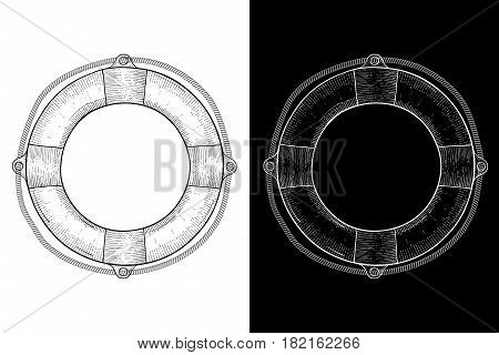 Lifebuoy. Hand drawn sketch. Vector illustration on black and white