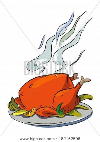 Cartoon image of cooked turkey. An artistic freehand picture.