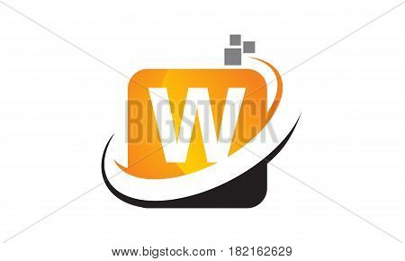 This vector describe about Technology Motion Synergy Letter W