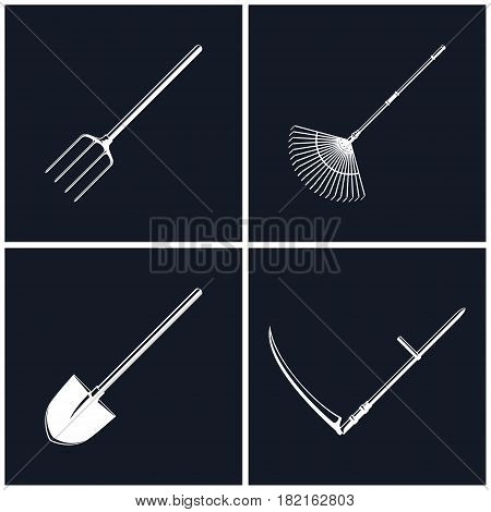 Set of Farming Tools on Black Background , Garden and Landscaping Tools , Icon Shovel and Scythe , Icon Garden Fork and Leaf Rake , Agricultural Equipment , Black and White Vector Illustration
