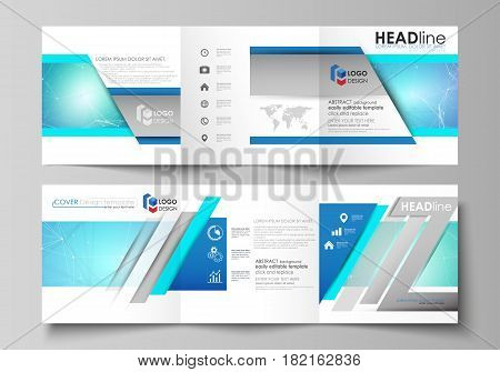 Set of business templates for tri fold square design brochures. Leaflet cover, abstract flat layout, easy editable vector. Chemistry pattern, connecting lines and dots, molecule structure, medical DNA research. Medicine concept.