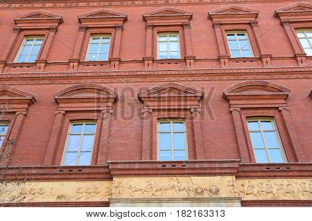WASHINGTON, DC - APR 14: Smithsonian National Building Museum in Washington, DC, as seen on April 14, 2017. Completed in 1887, the building onced housed the former Pension Bureau and is now a museum of architecture and design.
