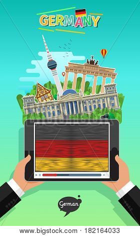Concept of travel to Germany or studying German. Male hands holding a tablet with landmarks and hand drawn German flag on the tablet screen. Flat design, vector illustration