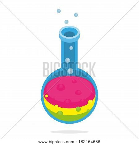 Scientific alchemy or laboratory tube isometric isolated experiment concept