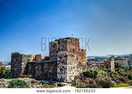 Ruins of crusaders fort in Byblos Jubayl Lebanon
