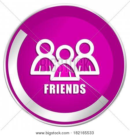 Friends web design violet silver metallic border internet icon.