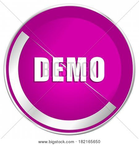 Demo web design violet silver metallic border internet icon.
