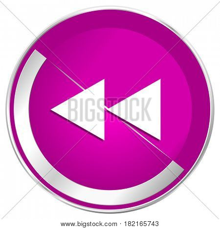 Rewind web design violet silver metallic border internet icon.
