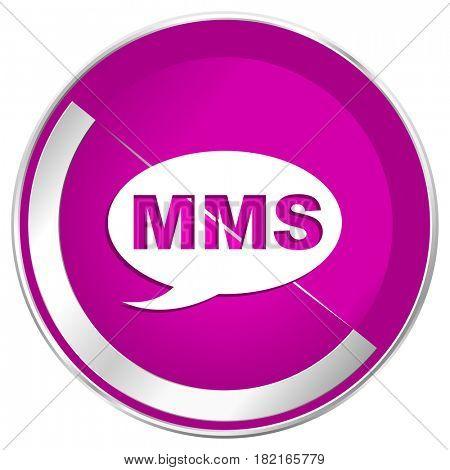 Mms web design violet silver metallic border internet icon.