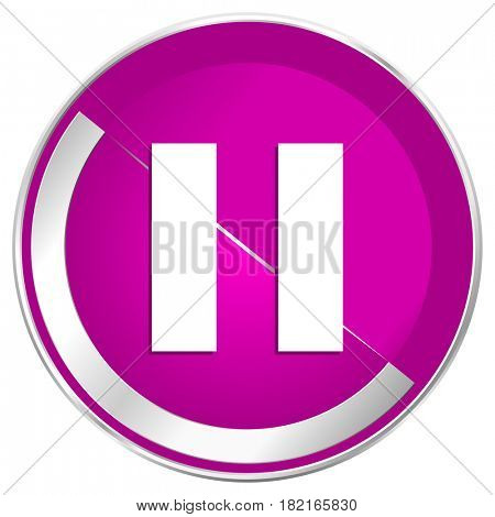 Pause web design violet silver metallic border internet icon.