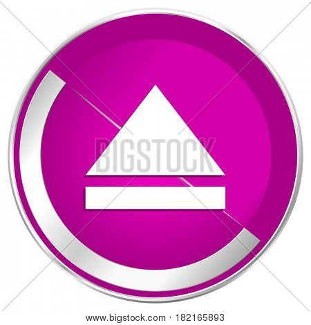 Eject web design violet silver metallic border internet icon.