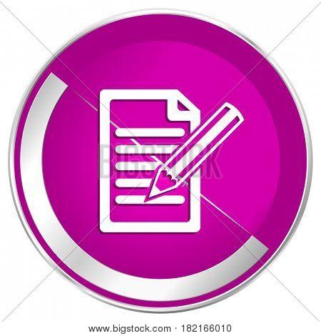 Subscribe web design violet silver metallic border internet icon.