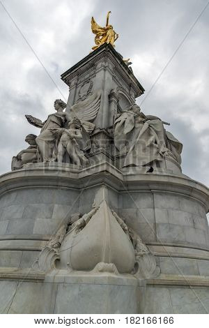 LONDON, ENGLAND - JUNE 17 2016: Queen Victoria Memorial in front of Buckingham Palace, London, England, United Kingdom